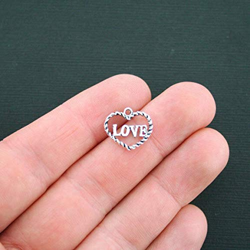 Extensive Collection of Charm 10 Heart Charms Antique Silver Tone Love Heart Outline Charms - SC1420 Express Yourself
