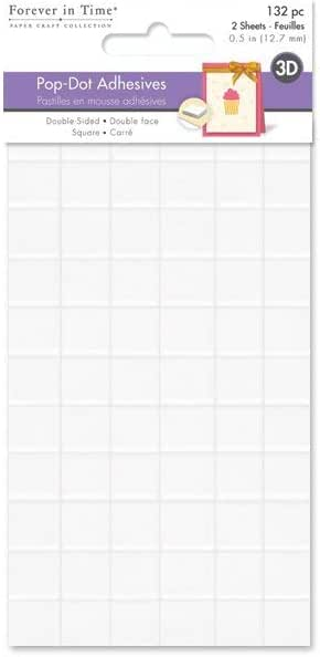 PD110 132 Per Package Forever In Time 3D Pop Dots Square Dual-Adhesive Foam Mount 1//2-Inch