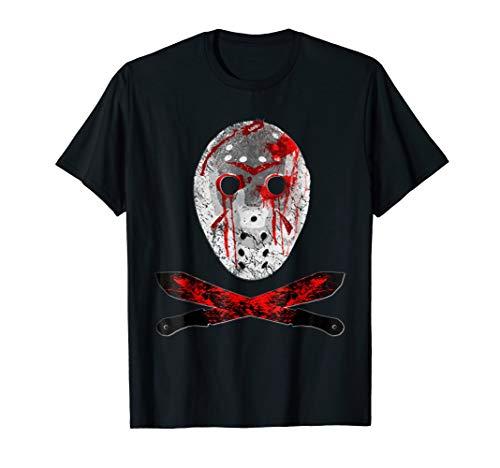 Friday 13TH Shirt Jason Mask Bloody Machete Halloween TShirt ()
