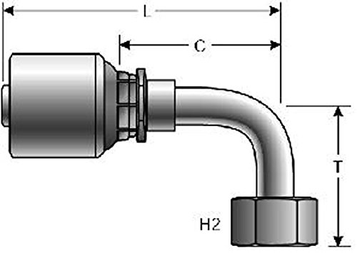 4.73 Zinc Plated Carbon Steel Pack of 25 4.73 1 ID 1 ID Gates 16G-16FJX90M XBULK MegaCrimp Couplings 90/° Bent Tube Pack of 25 Female JIC 37 Flare Swivel