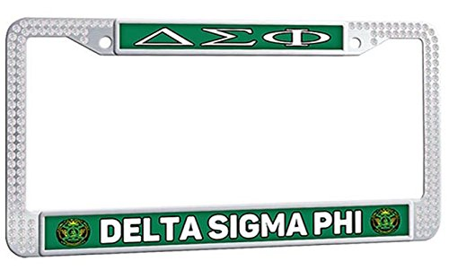 - DELTA SIGMA PHI License Plate Frame Sorority Fraternity With Logo Personalized Auto License Plate Frame - White Crystal Car License Plate Frame With 2 Holes and Screws Fasteners