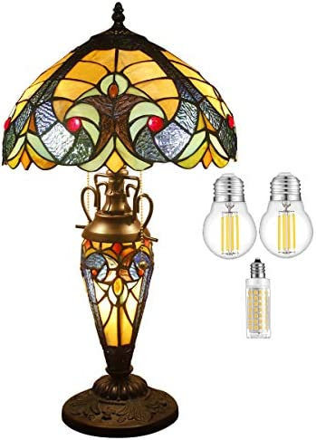 Tiffany Style Lamp W12H22 Inch 3LED Bulb Inclued Yellow Liaison Stained Glass Bedside Table Night Reading Light Base S160E WERFACTORY Lamps Lover Girlfriend Living Room Bedroom Desk Art Crafts Gift