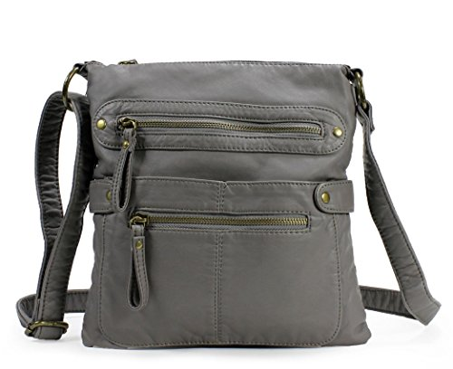 Scarleton Casual Double Zipper Crossbody Bag H182024 - Ash