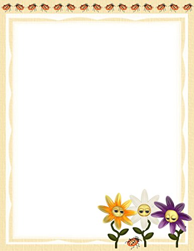 NEW Ladybugs & Flowers Letterhead Stationery Paper 26 Sheets