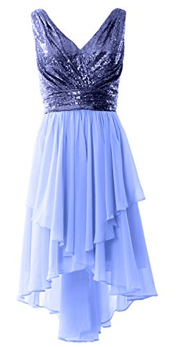 MACloth Women Straps V Neck Sequin Chiffon High Low Prom Dress Formal Party Gown Dark Navy-Sky Blue
