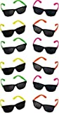 Rhode Island Novelty Neon 80's Style Party Sunglasses with Dark Lens, Pack of 24