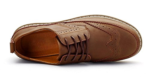 Tda Mens Classique En Cuir Sculpté Causal Oxford Chaussures Marron