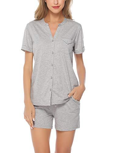Hawiton Women's Cotton Shorts Pajama Set Short Sleeve V-Neck Button Front Sleepwear Grey