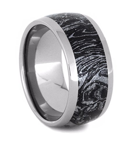 Black and White Mokume 10mm Comfort-Fit Titanium Wedding Band, Size 7 by The Men's Jewelry Store (Unisex Jewelry)