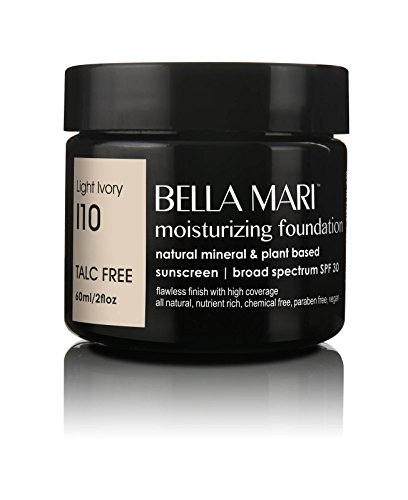 Bella Mari Natural Moisturizing Foundation, Light Ivory (I10); 2floz PBA-Free Plastic