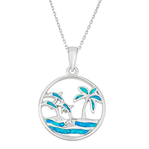 Beaux Bijoux Sterling Silver Created Blue Opal Palm Tree & Dolphins Circle Pendant with 18