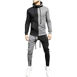 Tracksuit for Men,ONLT TOP Men's Activewear Color Block Full Zip Warm Tracksuit Sports Set Casual Sweat Suit Gray