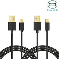 iXCC Freedom Series 6 Feet Reversible Micro USB to USB 2.0 Charge and Sync Cable Cord for Smartphones & Tablets (Pack of 2)
