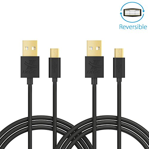 iXCC Freedom Series 6 Feet Reversible Micro USB to USB 2.0 Charge and Sync Cable Cord for Smartphones & Tablets (Pack of 2) (Long Usb Cables)