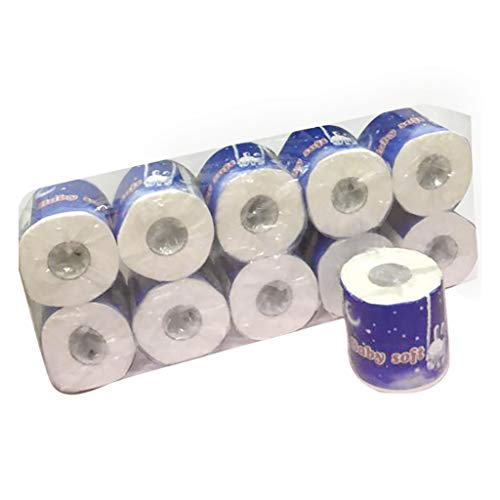 Offmaey 10 Rolls Toilet Paper Bulk Smooth Soft 3-Ply Toilet Paper Home Kitchen Toilet Tissue Hollow Replacement Absorbent Toilet Paper Bulk