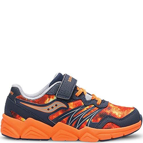 Saucony Boys' Kotaro Flash A/C Sneaker, Grey/Orange, 1.5 Medium US Little Kid (Little Kid Shoes Saucony)