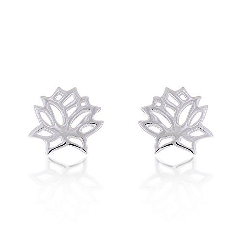 925 Sterling Silver Lotus Flower Cut-Out Stud Earrings