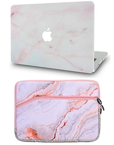 LuvCase 2 in 1 Laptop Case with Sleeve for MacBook Air 13 Inch A1466 / A1369 (No Touch ID) Rubberized Plastic Hard Shell Cover (Pink Marble)