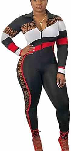 cffe083e31 Bluewolfsea Women s Fashion One Piece Plaid Striped Bodycon Zipper Jumpsuit  Skinny Romper Playsuit Short Sleeve