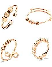 TOFBS Angst Ring Fidget Ring 4 Pack voor Vrouwen Mannen Draaibare Kralen Ring, Stress Reliever Spinner Ring, Verstelbare Open Vinger Ring Stapelbare Ringen