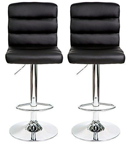 HULLR Modern Swivel Bar Stools Chairs Height Adjustable, Set of 2 (Black) - Bar Stool Single Foot Ring