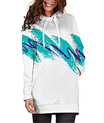 RAISEVERN Women's Sweatshirt Dress Casual Hooded Pullover Cool 3D Printed Design Popular Novelty Hoodie Long Sleeve