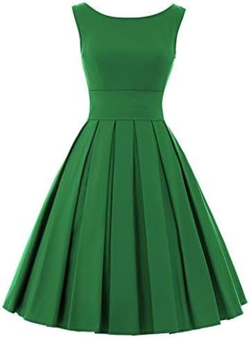 Belle Poque Womens Audrey Hepburn 50s Dress Sleeveless Tea Dress BP091