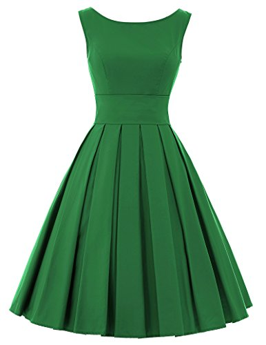 - Belle Poque 1950's Vintage Cocktail Party Dress Dark Green Swing Dress BP091-5(S)