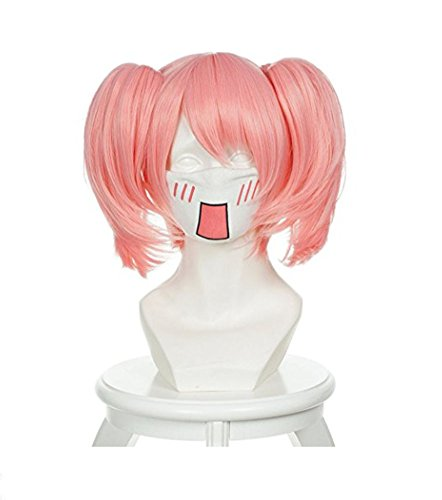 DIDACOS Madoka Kaname Puffy Pink Cosplay Wig with Two Ponytails