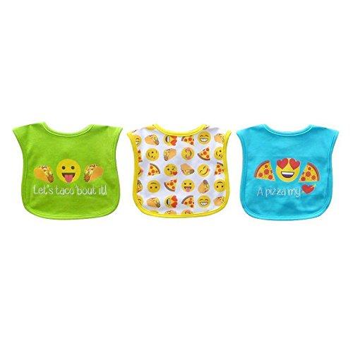 Bibsters 3 Pack Taco Emoji Embroidered/applique/print Bib Set -
