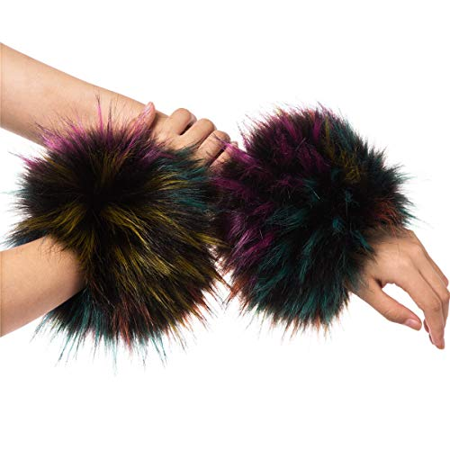 Lucky Leaf Women Winter Wrist Warmers Faux Fur Soft Cuffs Band Ring (C1-Colorful)