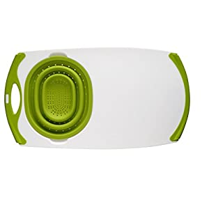 Best Epic Trends 41MJFcvbf2L._SS300_ Dexas Over-The-Sink Strainer Grippboard Cutting Board and Strainer, White and Green