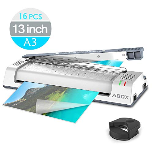 School Laminator (ABOX 13'' Thermal Laminator Machine for A3/A4/A6,Laminating Machine with Two Roller System,Jam-Release Switch and Automatic Shut off Function,Fast Warm-up,Quick Laminating Speed for Home/Office/School)