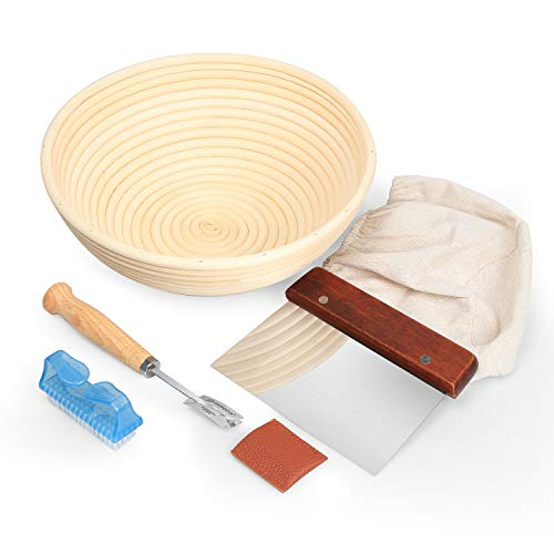 10inch Banneton Bread Proofing Basket Set,FIDECO Professional Baking Tool 5 Pack Set with Dough Bowl,Linen Liner, Dough Scraper,Scoring Lame,Cleaning Brush,for Artisan Bakers and Home(Kitchen Series)