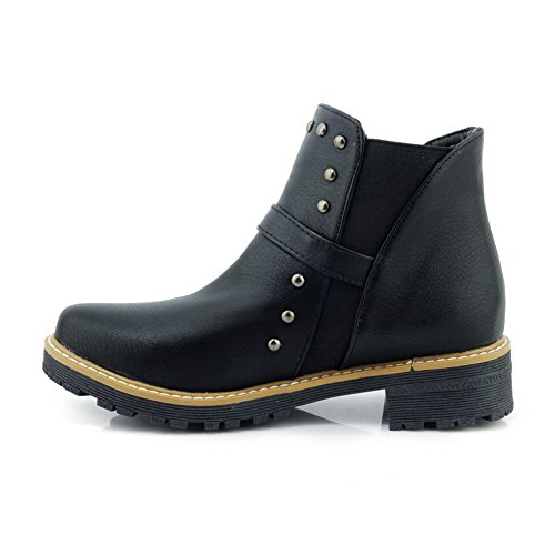 Low Closed Leather 1TO9 Smooth Bootie Cold Womens Urethane MNS02474 Lining Black Toe Leather Top Boots Studded Boots Smooth n7n4Pqgx