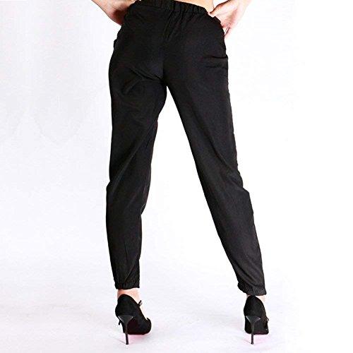Pantalons Adelina De Noir Élégant Elastische Mousseline Sport Cadeaux Mode Dames Unicolore D'été En Loisirs Léger Taille Soie Couleur Lacets Aérien À Pantalon dwx0Frwqp