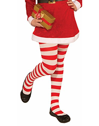 Novelty Candy Cane Striped Christmas Tights, Child Large, Large One Color