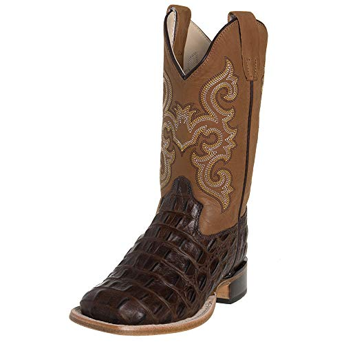 Old West Kids Boots Unisex Brown Croc Print Square Toe Boot (Toddler/Little Kid) Brown 3 M US Little Kid ()