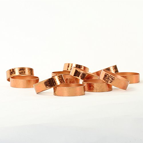 (Koyal Wholesale Napkin Ring Metal Bands, Antique Rose Gold, Bulk Set of 12, for Paper Napkin, Cloth Napkin, Wedding Reception, Christmas Party, Thanksgiving Dinner, Restaurant Every Day)