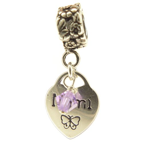 - Mimi Heart Alexandrite Crystal June Birthstone Small Sterling Silver Dangle Mimi Charm