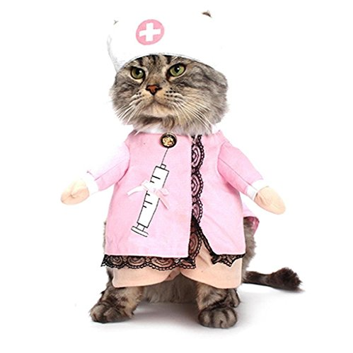PetBoBo Pet Dog Cat Nurse Costume Dog Pink Clothes Cat Funny Apperal Halloween Party Fancy Costume (Funny Halloween Pet Costumes)