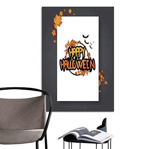 UHOO Canvas Wall Art Painting Halloween Vector Poster Flyer with Autumn Leaves and Happy Halloween Lettering with Grungy Font 6.jpg Nature Canvas Artwork Home Office Wall 16