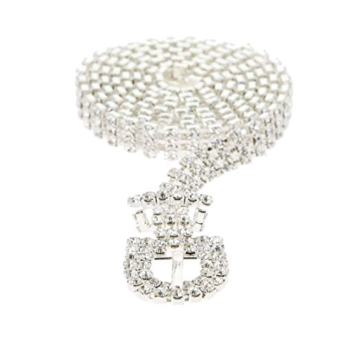SP Sophia Collection Glitterati 3 Row Chic Women's Fashion Crystal Rhinestone Buckle Chain Belt in Silver ()