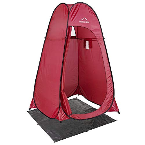 Your Choice Pop Up Tent, Portable Shower Toilet Changing Room Privacy Tent for Camping, Beach, Outdoor and Indoor - Color Red