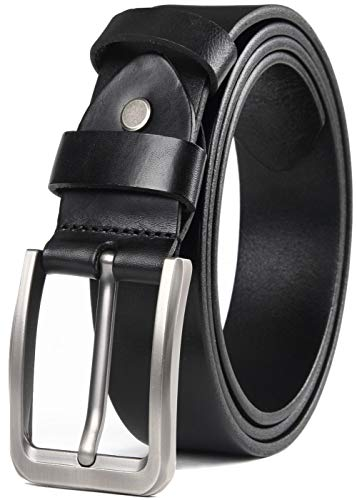 Mens Grain Top - COW STAUNCH Mens Dress Belt,Full Grain Leather Belt,Single Prong Big Buckle - for Casual Jeans,Brown (black1, 40-42inch)