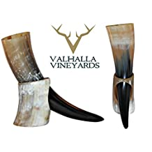 Natural Style Viking Drinking Horn with stand - Authentic Medieval Inspired Mug (16 oz) by Valhalla Drinkware