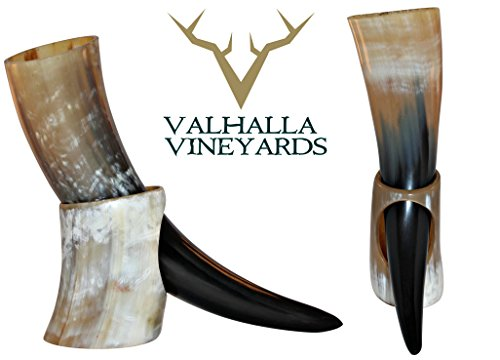 Natural Style Viking Drinking Horn with stand - Authentic Medieval Inspired Mug (16-18 oz (XL))