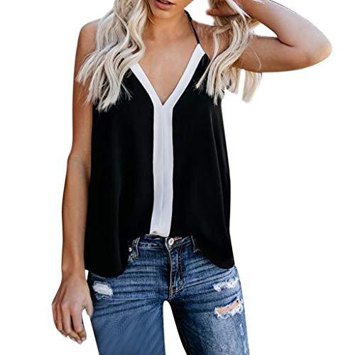 BXzhiri_Women Camisole Shirts Women's Spell Color Sling Tops Sleeveless Tank Top T-Shirt Tops ()