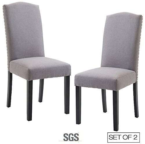ZXBSWELE Urban Style Linen Fabric Dining Room Chair with Solid Wood Legs Set of 2, (Arm Curved Back Dining Chair)