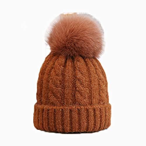 (Hat Female Autumn and Winter Fox Fur Ball Wool Hat Tide Wild Simple Korean Version of The Hemp Pattern Wool Blend Knit Hat,Metallic)